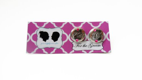 Grooms I DO Cufflinks with Colored Crystal-Silver Charm- Pink Stone