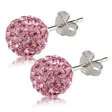 Authentic Pink Diamond Color Crystal Ball Stud Earrings Sterling Silver 2 Carats Total Weight Special Limited Time Offer Super Sale Price, Comes with a Free Gift Pouch and Gift Box