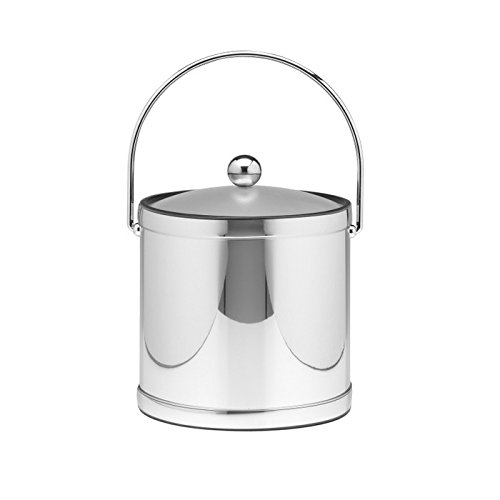 Kraftware Polished Chrome Ice Bucket With Bale Handle And Lucite Cover - 3 Quart