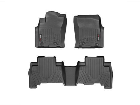 2013-2016-Toyota-4Runner-Black-WeatherTech-Floor-Liner-Full-Set-1st-2nd-Row-With-Passenger-Side-Retention-Posts