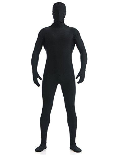 (YUUWA)全身タイツ 着ぐるみ 開口部のない ユニセックス 変装コスチューム ブラック 男性L