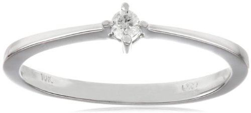10k White Gold Diamond Promise Ring (0.05 cttw, H-I Color, I2-I3 Clarity), Size 7