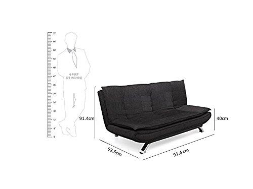 Forzza Vernon Three Seater Sofa cum Bed (Black)