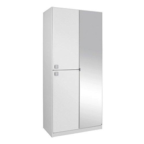 Kleiderschrank weiß 3 Türen B 91 cm Schrank Drehtürenschrank Spiegelschrank Wäscheschrank Kinderzimmer Jugendzimmer online bestellen