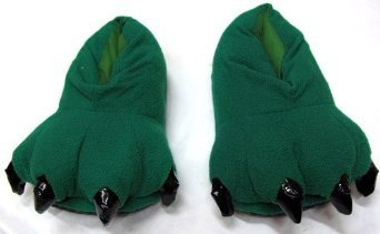Costume & Cosplay : Size 39-40 Animal Dinosaur Godzilla Paw Claws Monster Feet Soft Plush Stuffed Warm Winter Home Slippers Pajamas Party Shoes for Unisex Adults Men Womens Teens (Dark Green)