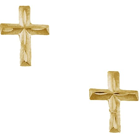 Cross Stud Baby & Child Earrings Darling in 14K Yellow Gold