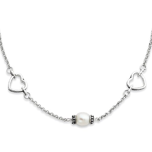 Sterling Silver Antiqued Freshwater Pearl Necklace