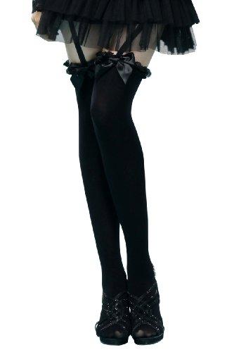 (小悪魔スタイル)ガーターベルト付フロントリボンニーハイソックス 黒 オーバーニー 靴下