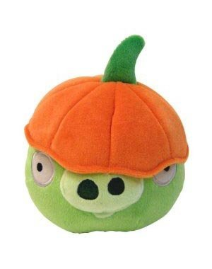 Imagen de Angry Birds Halloween 5 pulgadas Pig MINI figura de peluche con el sombrero de la calabaza