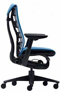 Embody Chair by Herman Miller - Home Office Desk Task Chair with Adjustable Arms - Graphite Frame Rhythm Blue Fabric