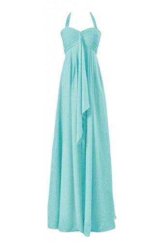 Daisyformals Long Halter Chiffon Bridesmaid Dress(Bm892L)- Tiffany Blue