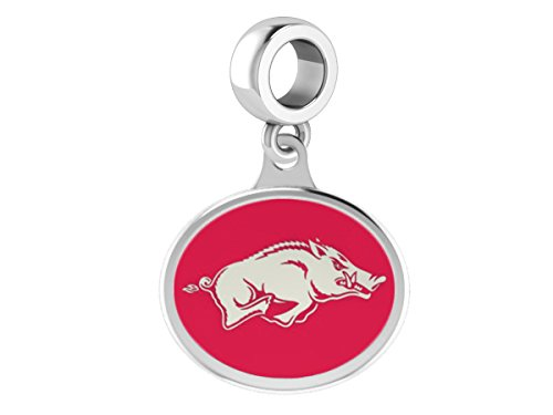 Arkansas Razorbacks Sterling Silver Enamel Drop Charm Fits All European Style Beaded Charm Bracelets