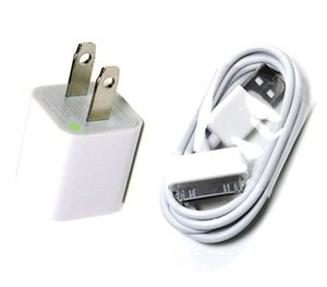 Bluecell White Color 3-Feet Wall AC Charger USB Sync Data Cable for iPhone 4/4S/3GS/iPod