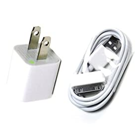 Bluecell White Wall Ac Charger USB Sync Data Cable for Iphone 4 4s 3g/s Ipod + Bluecell Cable Tie