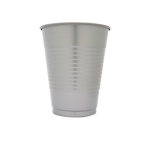 Creative Converting 600 Count Case Touch Of Color Plastic Cups, 16-Ounce, Shimmering Silver