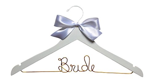 Bride Hanger for Wedding Dress White Wood Premium Hanger with Gold Wire