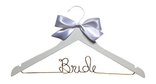 Bride Hanger for Wedding Dress White Wood Premium Hanger with Gold Wire
