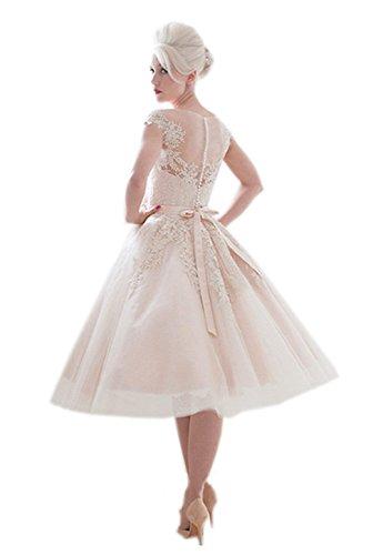 Kittybridal Vintage Lace Weding Dresses Tea Length 1