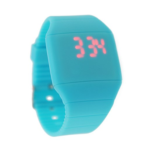 Urgreat Unisex Magic Hidden Touch Screen Red Led Wrist Watch Color Blue
