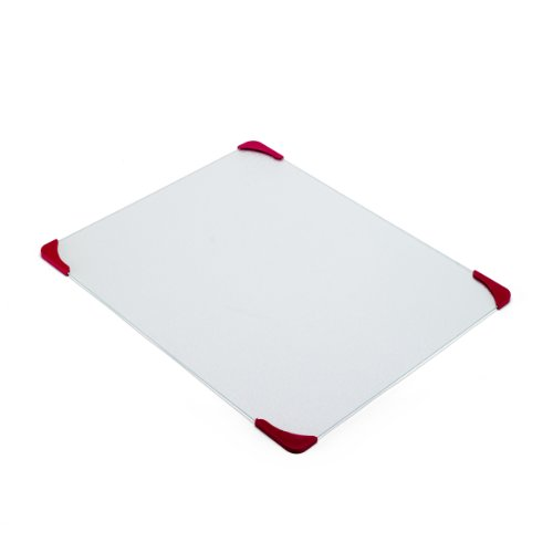 Farberware 16-by-20-Inch Glass Utility Cutting Board with Non-Slip Red Corners