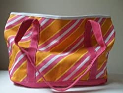 Bath and Body Works Pink Orange Yellow and White Striped Tote Bag approximately 18 inches by 11 inches