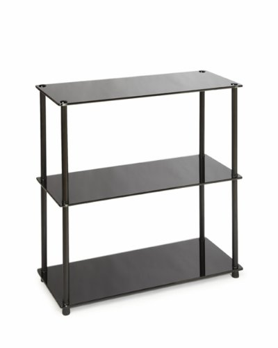 Convenience Concepts Designs2Go Midnight Classic 3-Shelf Glass Bookcase, Black Glass (Glass Bookcase 3 Shelves compare prices)