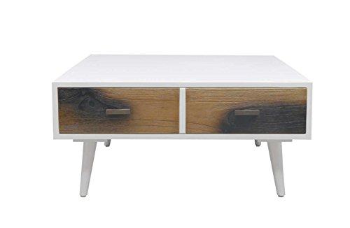 Awesome Vanilla Retro Square Coffee Table x Drawers