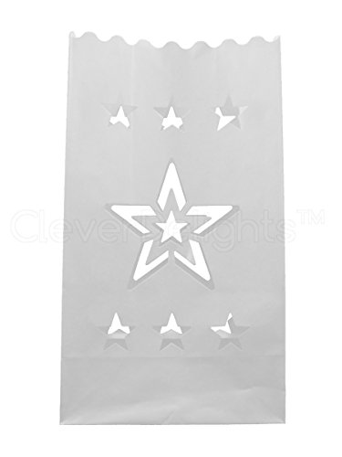cleverdelights-white-luminary-bags-10-count-star-design-flame-resistant-paper-wedding-reception-party-event-decor-luminaria-candle-bag