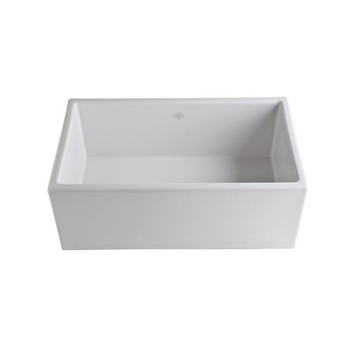Rohl MS3018WH Shaws Classic Modern Apron Front Single Bowl Fireclay Kitchen Sink, White