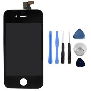 Replacement Digitizer and Touch Screen LCD Assembly for Black Apple iPhone 4 (Fits CDMA Verizon/Sprint iPhone 4 only) + 7 Piece Repair Tool Kit