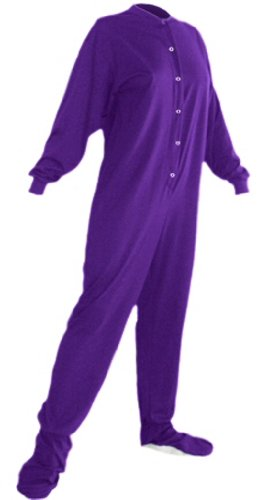 Big Feet Pjs Purple Jersey Knit Adult Footed Pajamas W/ Drop Seat (Xs) front-1006311