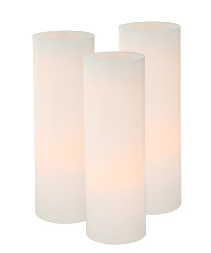 Everlasting Glow LED Boxed Wax Candle, Straight Edge Pillar, White, 4