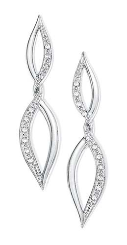 Sterling Silver Rough Diamond Dangle Twist Earrings