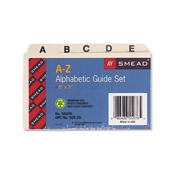 Smead Alphabetic Card Guides, 1/5-Cut Tab, 5 x 3 Inches, Heavy Manila, Legal Size, 25 Pack (55076) card guides alpha 1 5 tab polypropylene 5 x 8 25 set