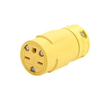 Woodhead 1549 Super-Safeway Connector, Industrial Duty, Straight Blade, 2 Poles, 3 Wires, NEMA 6-15 Configuration, Rubber, Yellow, 15A Current, 250V Voltage