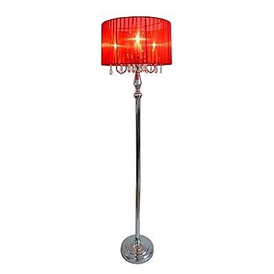 Elegant Designs LF1002-BLK Trendy Sheer Floor Lamp with Hanging Crystals