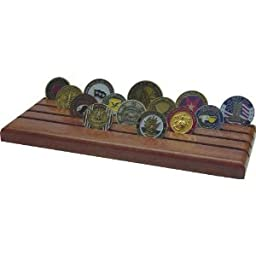 28 Coin Military Challenge Coin Holder, Solid African Mahogany, Red Stain