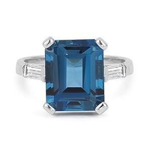 5.20 Carat Emerald-Cut London Blue Topaz and Diamond Ring [Jewelry]