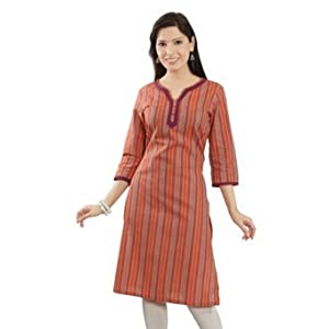 W Printed 3/4 Sleeve Kurti - Rust (Size: XXL) (Rs. 319)