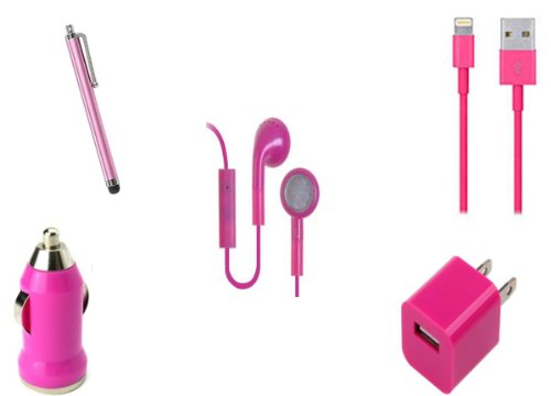 Home Wall & Car Charger Adapters + Usb Data Cables + Headphones With Mic+ + Stylus For Iphone 5. Hot Pink