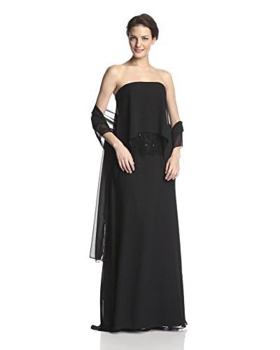 ML Monique Lhuillier Women's Strapless Chiffon & Lace Evening Gown  [Black]
