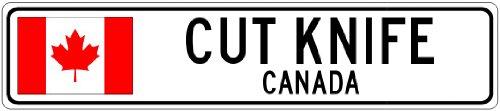 Cut Knife, Canada - Canada Flag Aluminum City Sign - 4 X 18 Inches