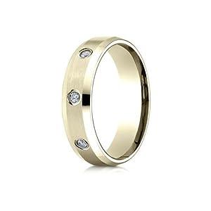 IceCarats Designer Jewelry 14K Yellow Gold 6Mm Comfort-Fit High Polish Edge Satin Center Burnish Set 8 Stone Diamond Eternity Ring (.32Ct) Size 6.5
