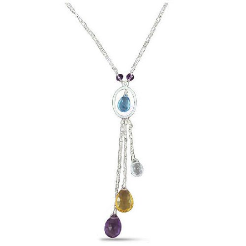 925 Sterling Silver Natural Amethyst Citrine Blue Topaz Gemstone Antique Style Necklace Set Jewelry