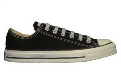 Converse Chuck Taylor All Star Lo Top Black Canvas Shoes with Extra Pair of Grey Laces