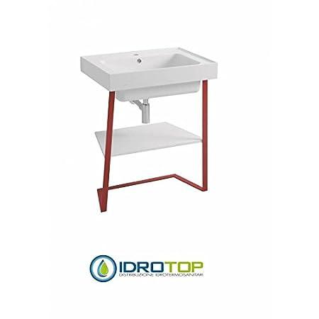 Lavabo 70X50 in Ceramica TRIX struttura metallica ROSSA ,sifone,piletta e troppopieno,fissaggi per lavabo ROSSO/BIANCO Colavene