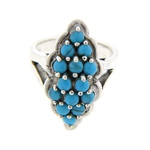 Sterling Silver Created Turquoise Beaded Ring Size#6.5