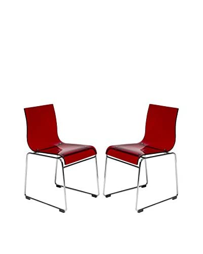 LeisureMod Set of 2 Lima Modern Acrylic Chairs, Transparent Red