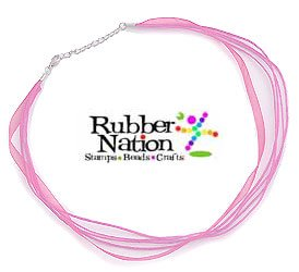"Neck Cord 3-Strand Organza With Clasp 18"" Pink"
