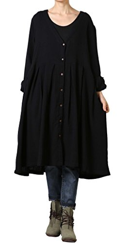Voguees Women's V-Neck Cotton Dress With Front Buttons Black